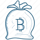 bag, bitcoin, money icon