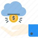 budget, cloud, finance, funding, get, hand, money icon icon