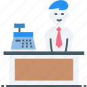 attendant, cashier, counter, hypermarket, male, point of sale, retail icon icon