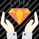 diamond, hands, hold, keep, money icon icon