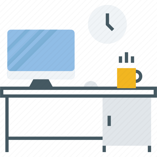 computer, decoration, desk, furniture, home, house, table icon icon