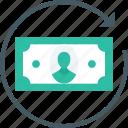 dollar, exchange, finance, money, reloading money icon icon