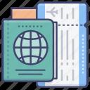 airline, flight, passport, ticket icon