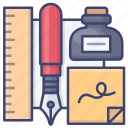 ink, pen, ruler, stationery icon