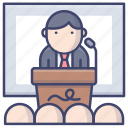 course, lesson, speech, training icon