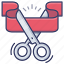 cutting, opening, ribbon, scissors icon