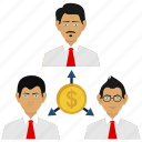 dollar, office, online, relationship, team, work icon