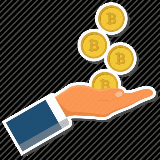 bitcoin, coin, hand, money, online icon