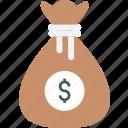 banking, cash, dollars, finance, money, money bag icon icon