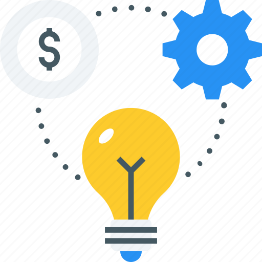 allocation, cog, coin, creative, gear, idea, money icon icon