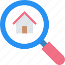 find, home, inspection, magnifier, magnifying, search icon icon