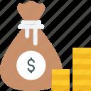 bag of coins, coin bag, coins, money bag, money sack icon icon