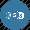 coins, dollar, money, sign