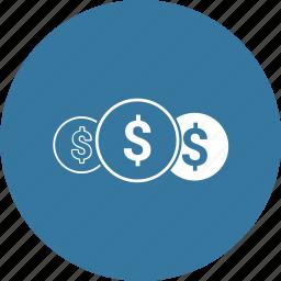 coins, dollar, money, sign icon