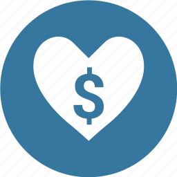 dollar, heart, money icon
