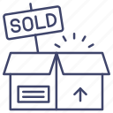 out, product, sold, stock icon