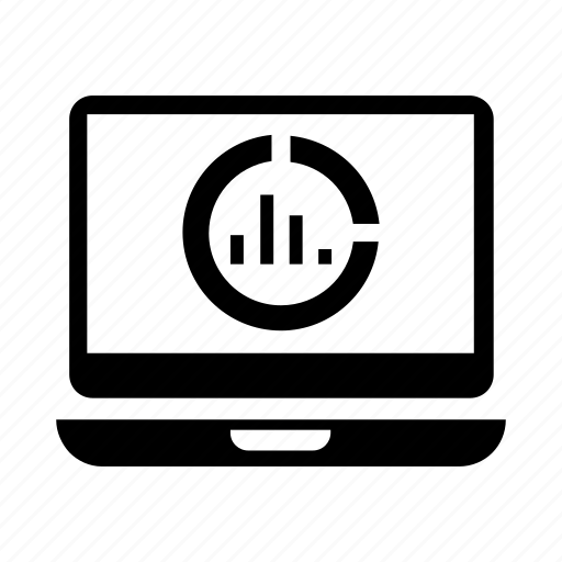 analytics, computer, data, laptop, pie chart icon icon