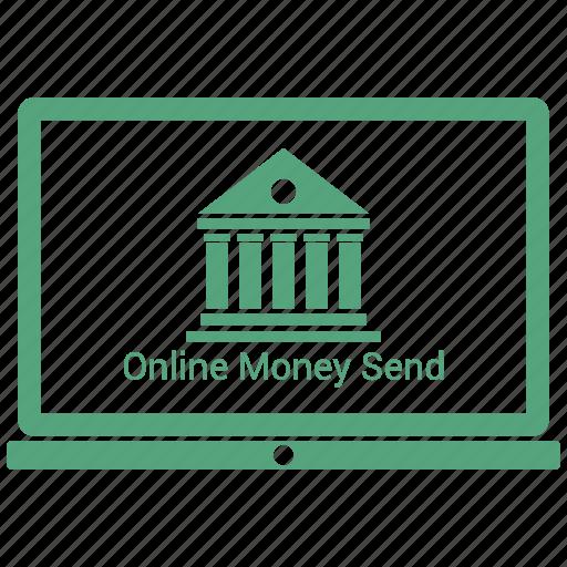 bank, laptop, online money send icon