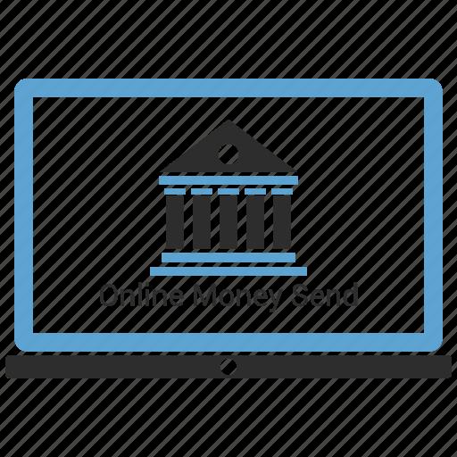 bank, banking, internet, laptop, online, web icon