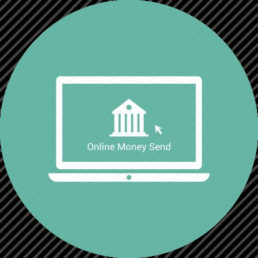 bank, click, laptop, online money send icon