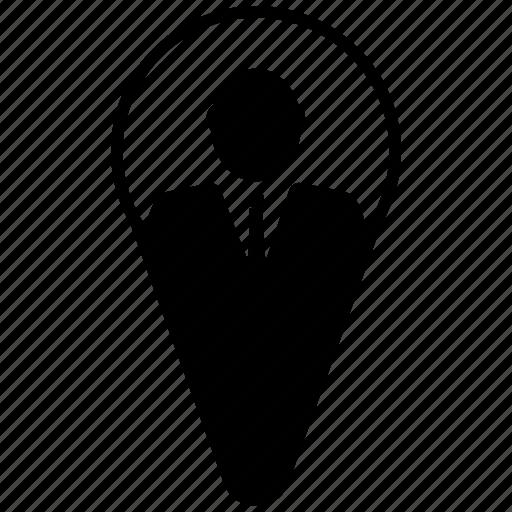 avatar, business, businessman, entrepreneur, location, pin icon