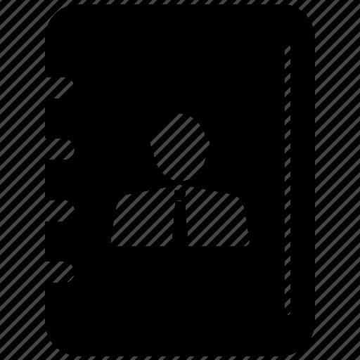 book, bookmark, contacts, profile icon