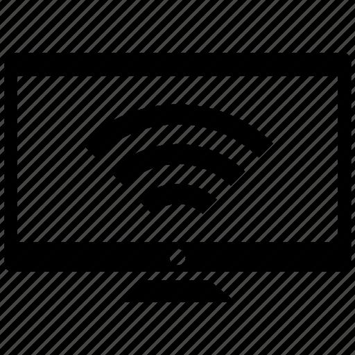 computer, display, monitor, screen, wifi icon