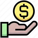 business, coin, dollar, financial, give, hand, money icon