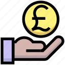business, coin, financial, give, hand, money, pound icon