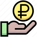 business, coin, financial, give, hand, money, ruble icon