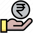 business, coin, financial, give, hand, money, rupee icon