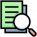 analyze, business, copy, documents, files, financial, search icon