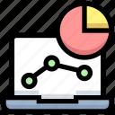 business, financial, graph, laptop, pie chart, statistics icon