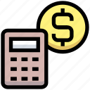 counting, financial, dollar, calculator, business, money, calculate icon