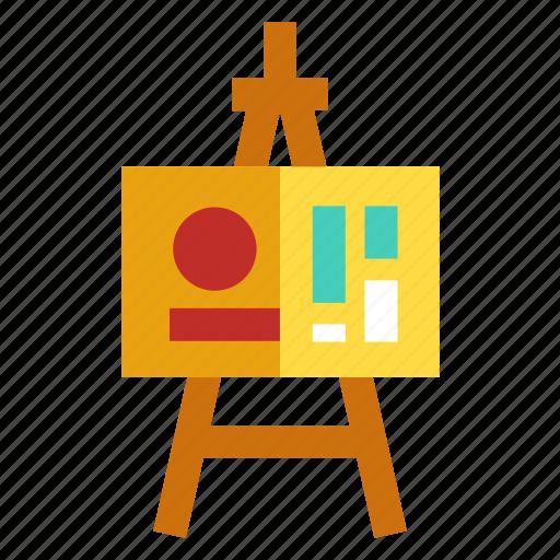 business plan, easel, scheme, strategy, tripod icon