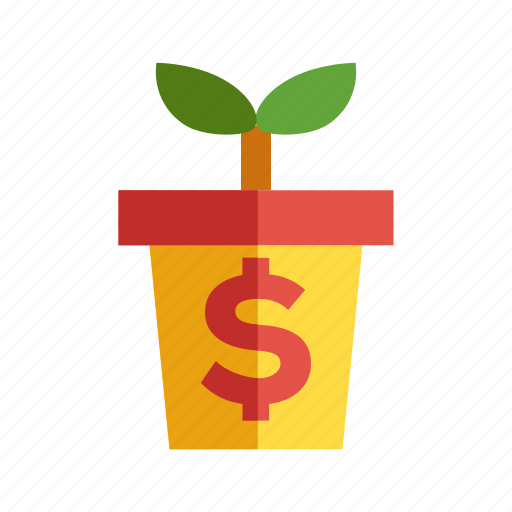 flowerpot, growing profit, rising, sprouting icon