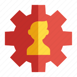 business, cogwheel, human resources, person, worker icon