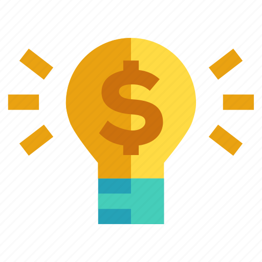 business and financial, dollar, light bulb, monetization, produce icon