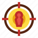 aim, focus, scope, sight, target group icon