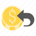 coin, commerce, e, exchange, money, return money, transfer icon