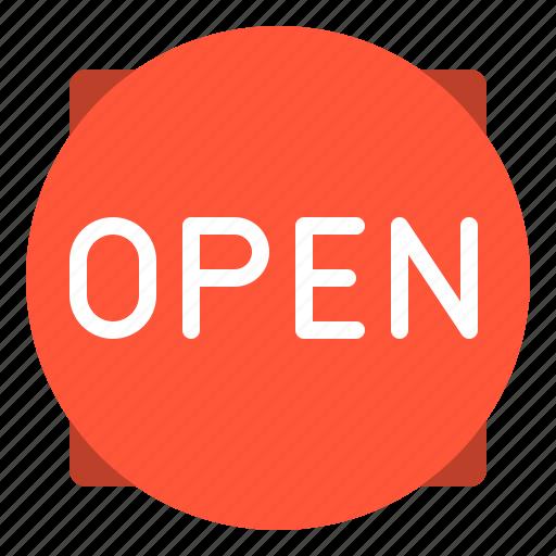 commerce, e, open, sign icon