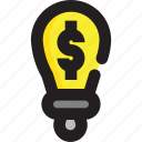 business, dollar, finance, lamp icon