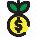 coin, dollar, plant icon