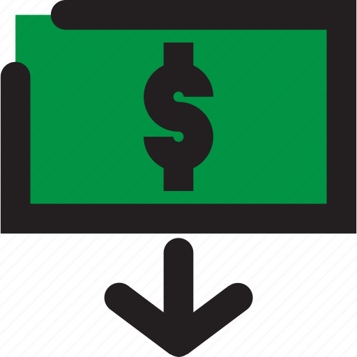 business, dollar, down icon