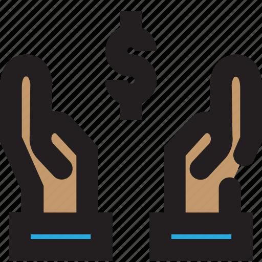 business, dollar, hand icon