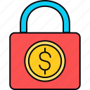cash, lock, locker, money, safety icon