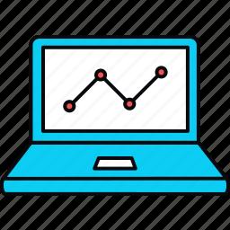 analytics, bar, graph, laptop, pie, presentation icon