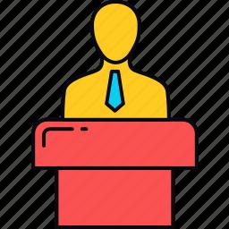 communication, lecture, message, podium, speech, talk icon