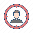 aim, focus, goal, marketing, target icon