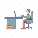 interface, laptop working, user, working man, workspace icon
